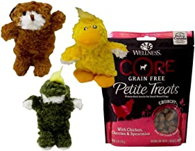 Kong Low Stuffing Extra Small Squeaker Toy 3 Shape with Core Grain Free Treats Bundle (6 Ounces)