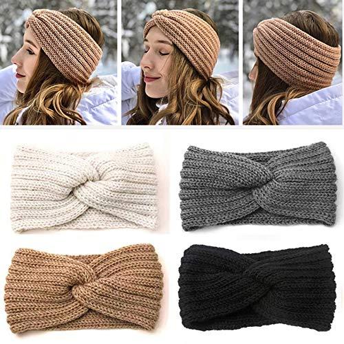 Ealicere 4 Stück Damen Gestrickt Stirnband, Elastisches Haarbänder Bow Wolle Turban Headwrap, Stirnbänder Winter Kopfband … (Beige)