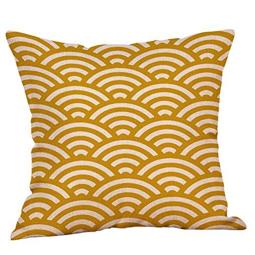 Gelbes Geometrisch Bedrucktes Leinen Kissenbezug, Weiches Kissen, Weicher Kissenbezug, Hypoallergener Kissenbezug, der für die Dekoration von Schlafsofas und Wohnaccessoires Verwendet Wird