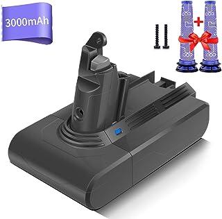 morpilot Batería de Reemplazo para Dyson V6, 21.6V 3000mAh Li-Ion Compatible con Dyson V6 Series DC58 DC59 DC61 DC62 DC72 DC74 DC62 Animal 595 650 770 880, con 2PCS Pre Filtros Lavables