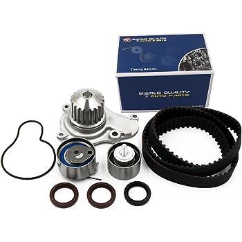 Timing Belt Kit Water Pump w/Gaskets Tensioner Fits 03-09 Chrysler PT Cruiser Sebring Votager and 03-07 Dodge Caravan Stratus and 02-06 Jeep Liberty Wrangler 2.4L L4 DOHC 16V