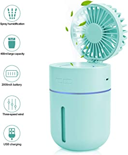 EVILTO Mini Humidifiers for Office Bedroom - Portable 2 in 1 USB Spray Humidifiers with Fan, 400ML Water Tank Lasts Up to 10 Hours, 2 Mist Modes with 7 Colors LED Lights for Kids, Home, Travel, Car.