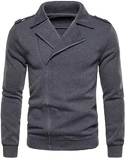 Men's Sweatershirt Shirts Casual Pure Color Zipper Lapel Long Sleeve Tops Beautyfine