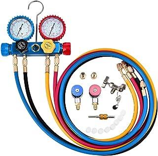 TOPQSC Conjunto de manómetro de diagnóstico de CA de 4 vías para la Carga de freón y la evacuación de la Bomba de vacío, se Adapta a los refrigerantes R134A R410A y R22