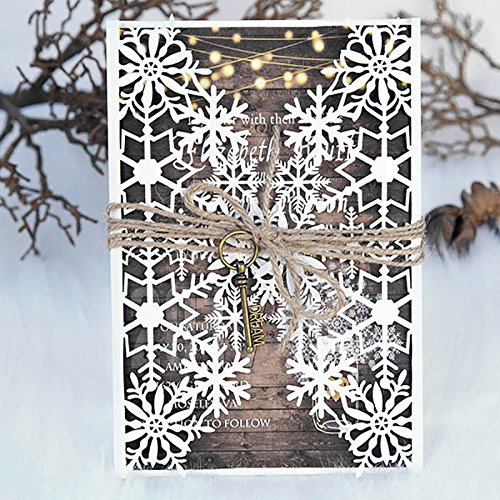 10 Set/Pack Ivory Design Snowflake Pattern Laser Cut Wedding Invitations Ribbons RSVP Brithday Pirnt Invite Postcard Bow Seal