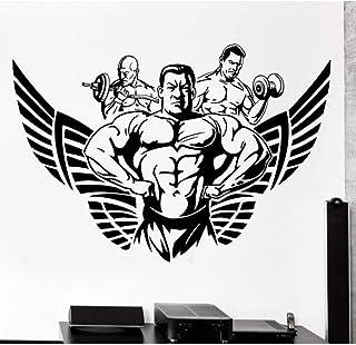 Kssim ديكور المنزل غرفة المعيشة ديكور الجدار ملصق رياضة كمال الاجسام كمال الاجسام العضلات مجنح الفينيل صائق 57 * 85 سنتيمتر