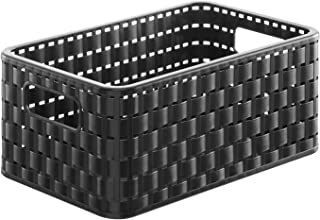 Rotho Country Boîte de Rangement 6L en Rotin, Plastique (PP) sans BPA, Noir, A5/6L (28,0 x 18,5 x 12,6 cm)