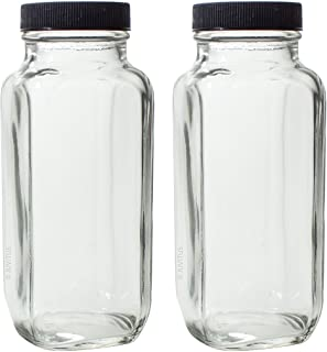 8 oz Clear Thick Plated Glass French Square Empty Bottle Jar with Lid (2 Pack) Perfect for Home, Travel, Juicing, Kombucha