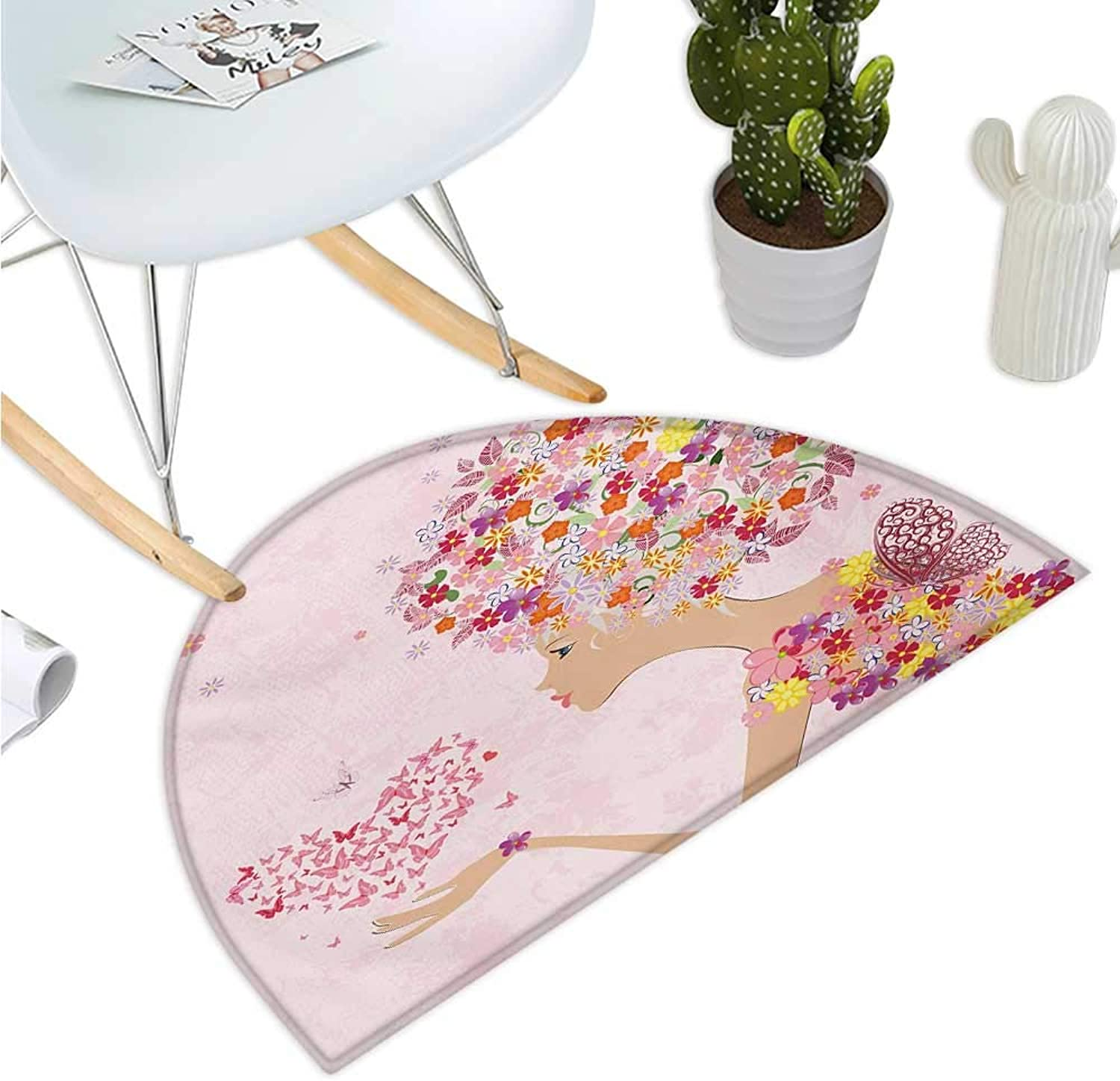 Pink Semicircle Doormat Fashion Flowers Girl with Heart of Butterflies Wings Spring Theme Artistic Hand Drawn Entry Door Mat H 39.3  xD 59  Multicolor