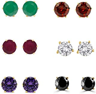 Archi Collection Combo Of Gold Plated American Diamond Earrings Studs For Girls And Women