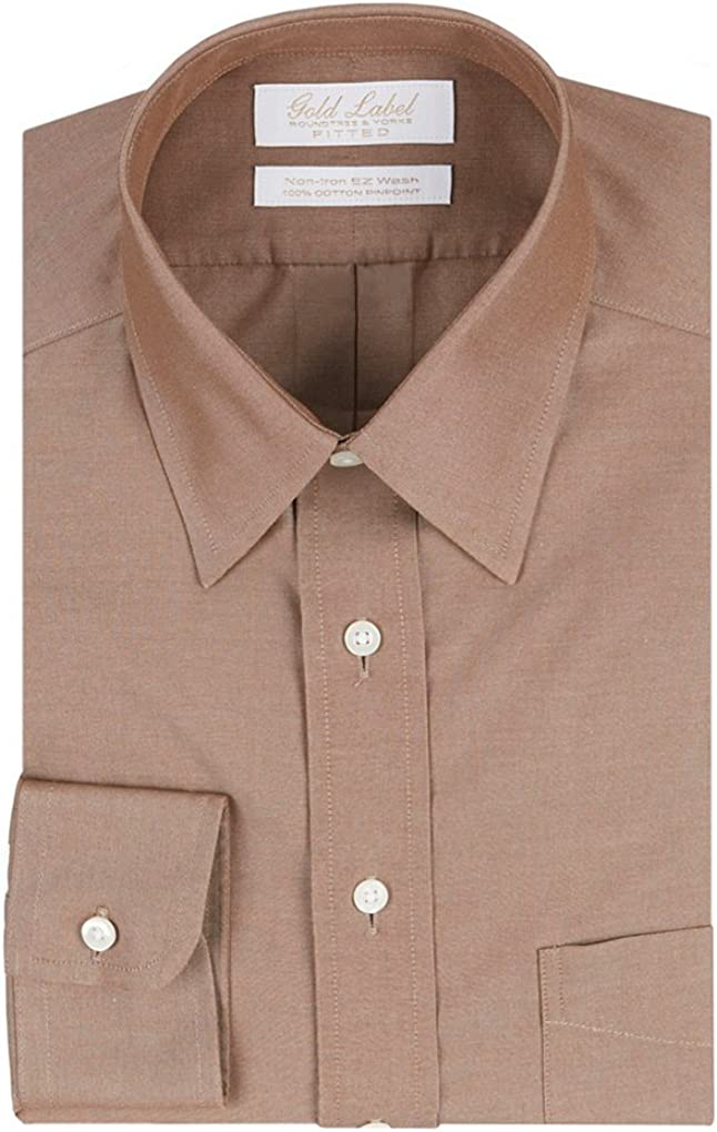 Gold Label Roundtree & Yorke Non-Iron Fitted Classic-Fit Point Collar Dress Shirt F75DG113