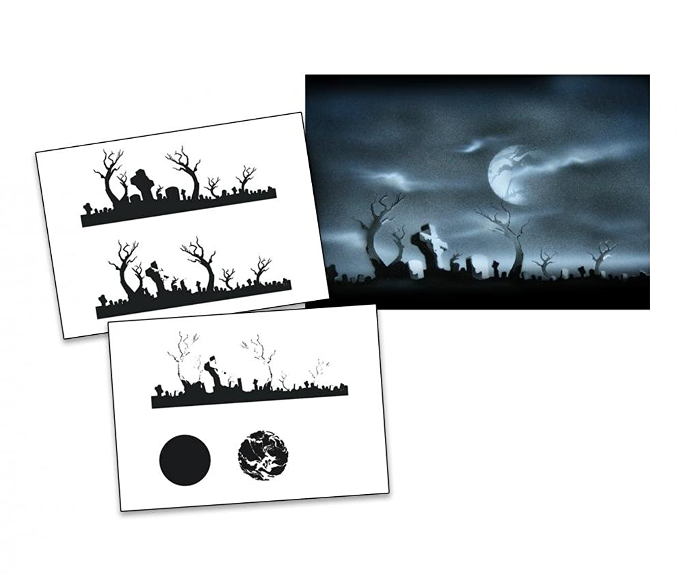 UMR-Design AS-009 Cementary Airbrush Stencil Template Step by Step Size M