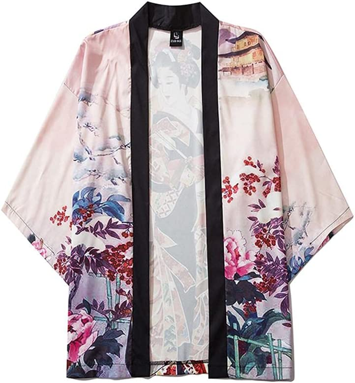 Men's Casual Fashion Open Front 3/4 Sleeve Japanese Style Print Cover Up Cardigan