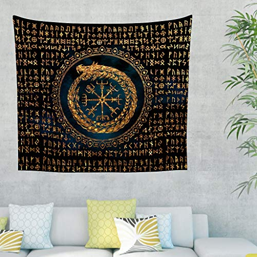 Gamoii Wandbehänge Wandteppich Tapestry Wikinger Drache Rune Symbol Totem Braun Picknick Decke Beach Blanket Yogamatte Hochwertigem Polster Decke Sofabezug White 200x150cm