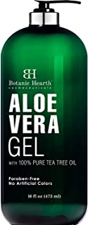 Botanic Hearth Aloe Vera Gel with Tea Tree Oil - Soothing, Hydrating, Moisturizing Skin - Helps with Sunburn, Bug Bites, Rashes, Small Cuts & Eczema - Hair Conditioning (Packaging May Vary) - 16 fl oz