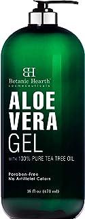 Botanic Hearth Aloe Vera Gel with Tea Tree Oil - Soothing, Hydrating, Moisturizing Skin - Helps with Sunburn, Bug Bites, R...