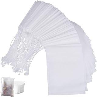 Tweal Bolsita de te de Filtro,100 Piezas Bolsas de Té Desechable,Vacía Bolsas con Cordón para Té de Hierbas Las Hojas Suel...