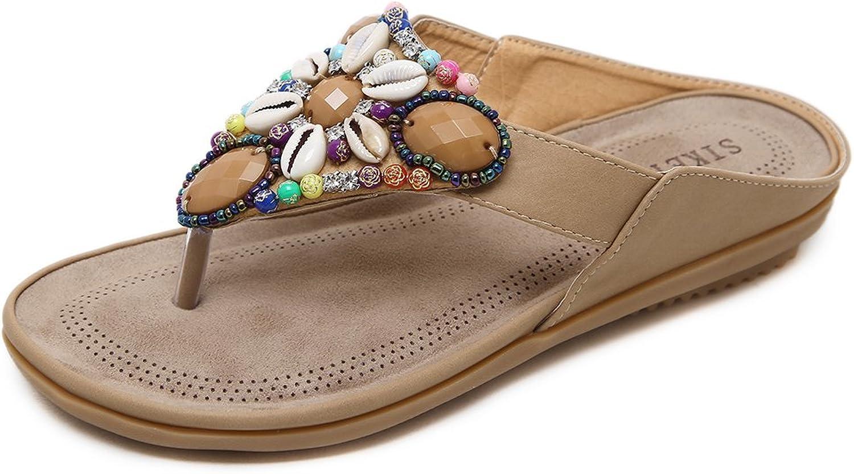 Mobnau Women's Jeweled Flip Flops Flat Skidproof Thong Sandals