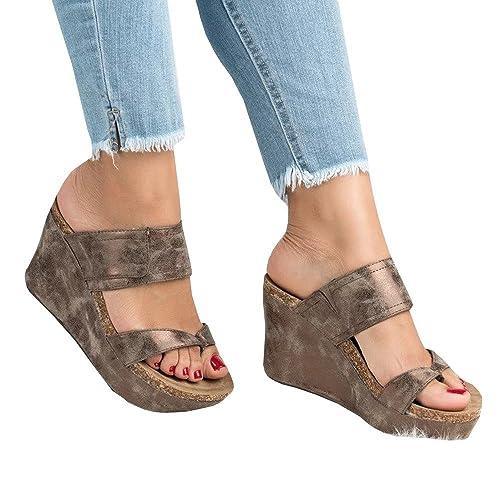 3250f9c7defc Syktkmx Womens Strappy Platform Wedges Open Toe Slingback Cork Heel Slip on  Thong Sandals