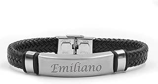 Kigu Emiliano Name Bracelet - Personalised Mens Double Leather Braided Engraved Bracelet.