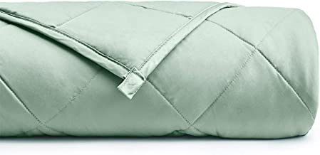 YnM Weighted Blanket (15 lbs, 60''x80'', Queen Size) for People Weigh Around 140lbs   2.0 Breathable Heavy Blanket   100% Cotton Material with Glass Beads, Sprout Green