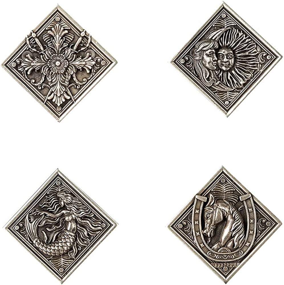 Resident Evil Village Badge The 4 Houses Crest Brooch Four Faimlies Pins RE8 Cosplay Accessories, 4PCS