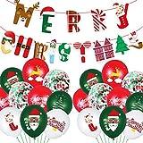 KAIMIRUI Globos de Confeti Verde Rojo, Globos de Navidad de 12 Pulgadas, Globos de Confeti Globos Decorativos Globos de Colores Globos Fiesta de Navidad Globos de Helio de látex