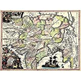 Wee Blue Coo Map Antique Seutter India Pakistan Tibet