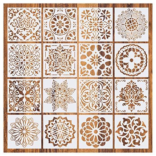 Plantillas de Mandala Pintura de plantilla de mandala Plantillas de Dibujo Mandala Plantilla de punto de mandala para DIY Scrapbooking Pintura de pared Cerámica Piedras Decoración 16 hojas 15 * 15 cm