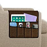 Joywell Armchair Caddy, Remote Control Holder for Recliner Couch, Sofa Armrest Organizer with 5 Pockets for Magazine, Tablet, Phone, iPad, Brown