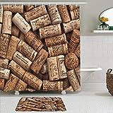 ZELXXXDA Juegos de Cortinas de Ducha con alfombras Antideslizantes,Corchos de Vino Natural Madera, Alfombra de baño + Cortina de Ducha con 12 Ganchos