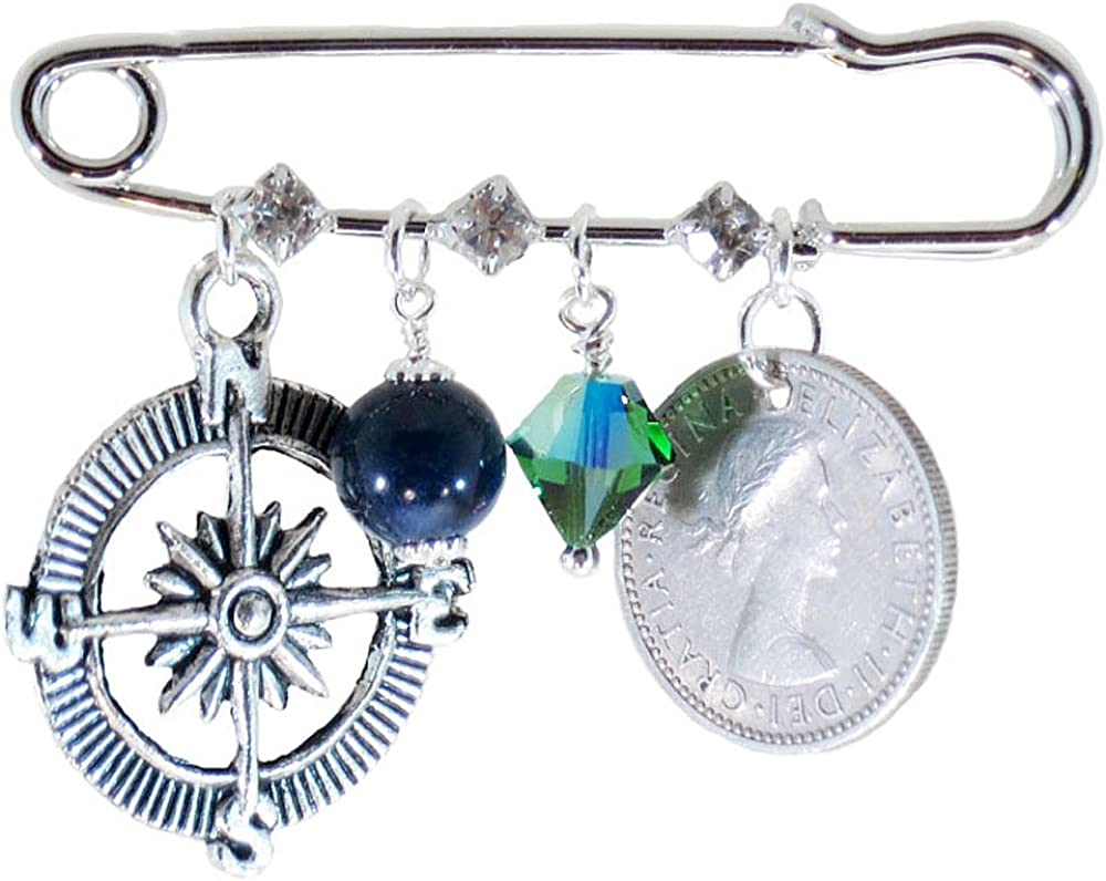 Better Than Buttons Compass, Blue Stone, Blue Green Crystal, and Six Pence Bridal Pin