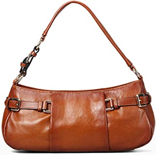 Fashion Leather Shoulder Bag Ladies Wild Simple Hand Bag Personality Large Capacity Casual Durable Women's Bag Red Brown, Rose Red(FM),B