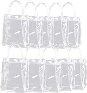 HUANG Paquet de 10 sacs-cadeaux clairs avec poignées Sac fourre-tout en PVC Sac à main de plage Sac d'emballage en plastiq...