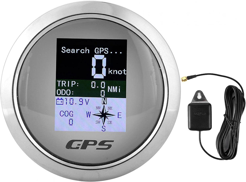 Jacksing 85mm Digital GPS Speedometer, Digital Speed Odometer with GPS Antenna, 8 Direction Pointers, Waterproof Digital Gauges for Car Boat Engineer 9-30V(White)