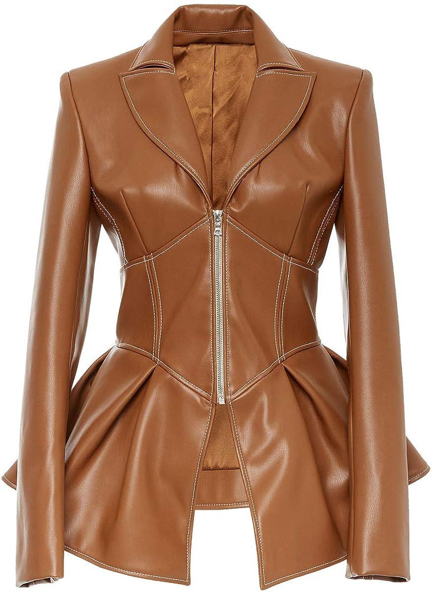 HONEST PHENIX COME Women's Faux Leather Moto Biker Short Coat Jacket