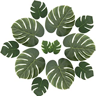 ManYee Tropical Palm Leaves 36 Pcs Artificial Monstera Leaf Large Palm Leaves Decorations for Luau Safari Jungle Birthday Party Hawaiian Theme Wedding Baby Shower Decor 3 Sizes