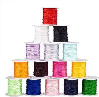 PandaHall Elite 15 Rollen 0.8mm 10m / Rolle 10.93yard / roll Nylon Beading String Knotenkordel, chinesische Knoten Cord Nylon Thread Perlschnur, 15 gemischte Farben