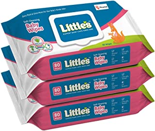 Little's Soft Cleansing Baby Wipes Lid, 80 Wipes (Pack of 3)