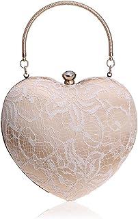 New Handbag, Lady Dinner Bag Fashion Peach Heart-Shaped Banquet Bag Evening Wear Hand Bag,White,8 * 25 * 16cm