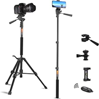 Tripod for Camera and Phone Travel Portable Monopod Tripod Stand Aluminum for DSLR Video Camcorder Smart Phone Small Flexi...