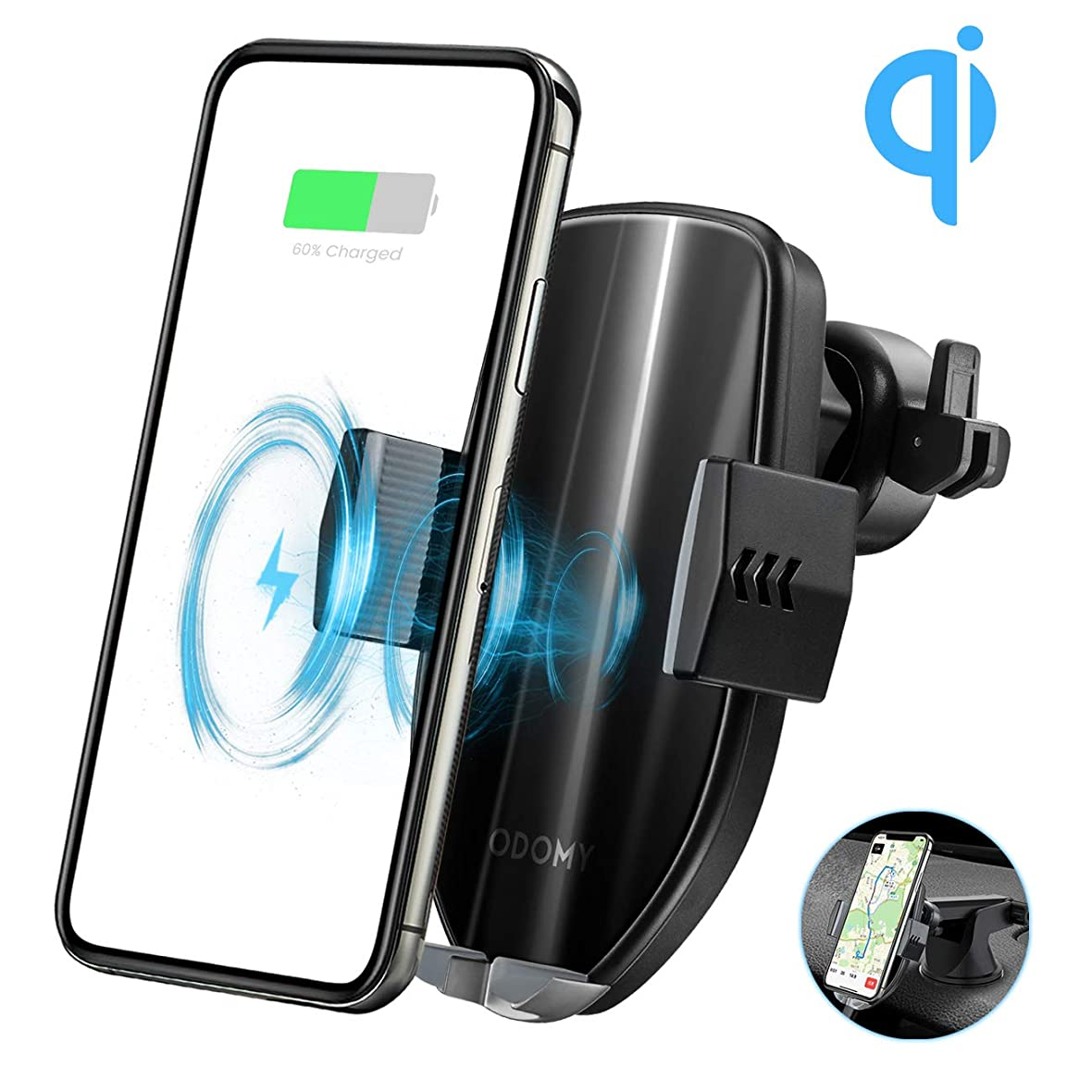 ODOMY 車載ワイヤレス充電器 車載QI 車載ホルダー ワイヤレス充電器 QC3.0 10W 急速充電 自動開閉 停電利用 360度回転 吸盤式 エアコン口 iPhone X/XR/XS/XSMAX/8/8Plus/GalaxyS10/S10+/S9/S9+/S8/S8Plus/ Note8/Note5/Nexus4/5/6/pixel3/3xl/XperiaZ3v/XZ2/XZ2 Premium/XZ3 4.7-6.4インチスマホなどのワイヤレス充電機種に対応(ブラック)