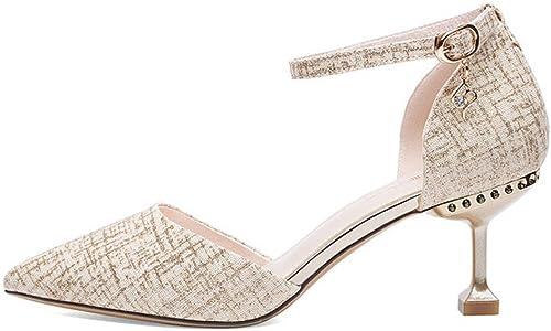 DKFJKI Chaussures à à Talons Hauts pour Femmes à Talons Hauts Boucles à Talons Aiguilles Sandales Pointues Et Fines Style élégant Et Cool  sortie d'exportation