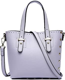 Fine Bag/Women's Handbag Fashion Rivet Bucket Bag Simple Versatile Shoulder Crossbody Bag Large Capacity Ladies Bag Shopping Work (Color : Purple, Size : 20 * 10 * 20cm)