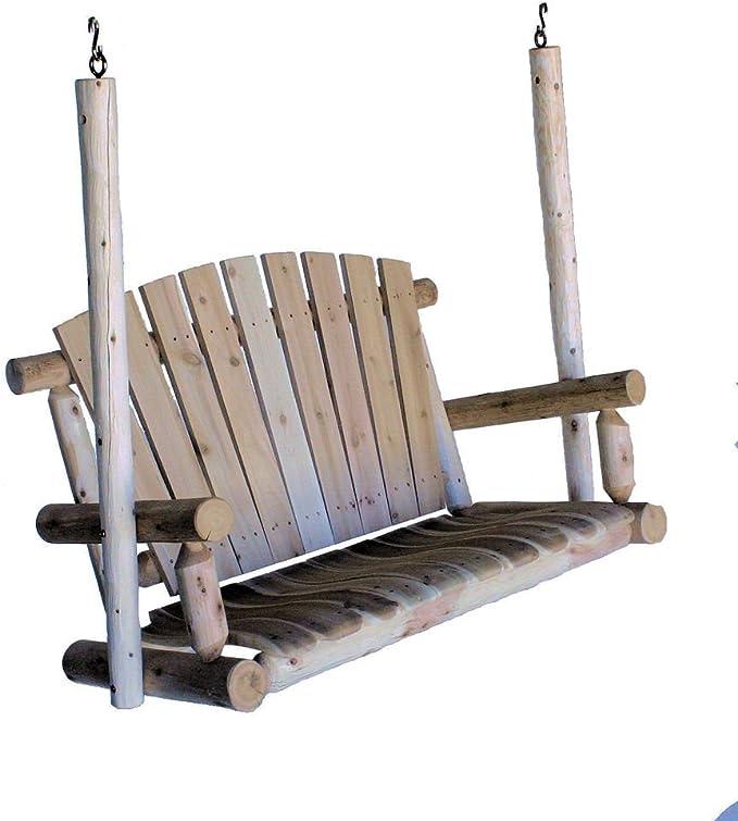Lakeland Mills 4-Foot Cedar Log Porch Swing - The Best Vintage Porch Swing on The Market