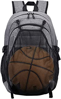 Arder Basketball Backpack Middle School Student Bag Cross-Border for Men's Backpack USB Casual Outdoor Sports Backpack Relaxed (Color : Gray)