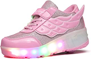 FOUPLER Boy Girls LED Light Up Roller Skate Shoes Wheels Wings Outdoor(Little Kid/