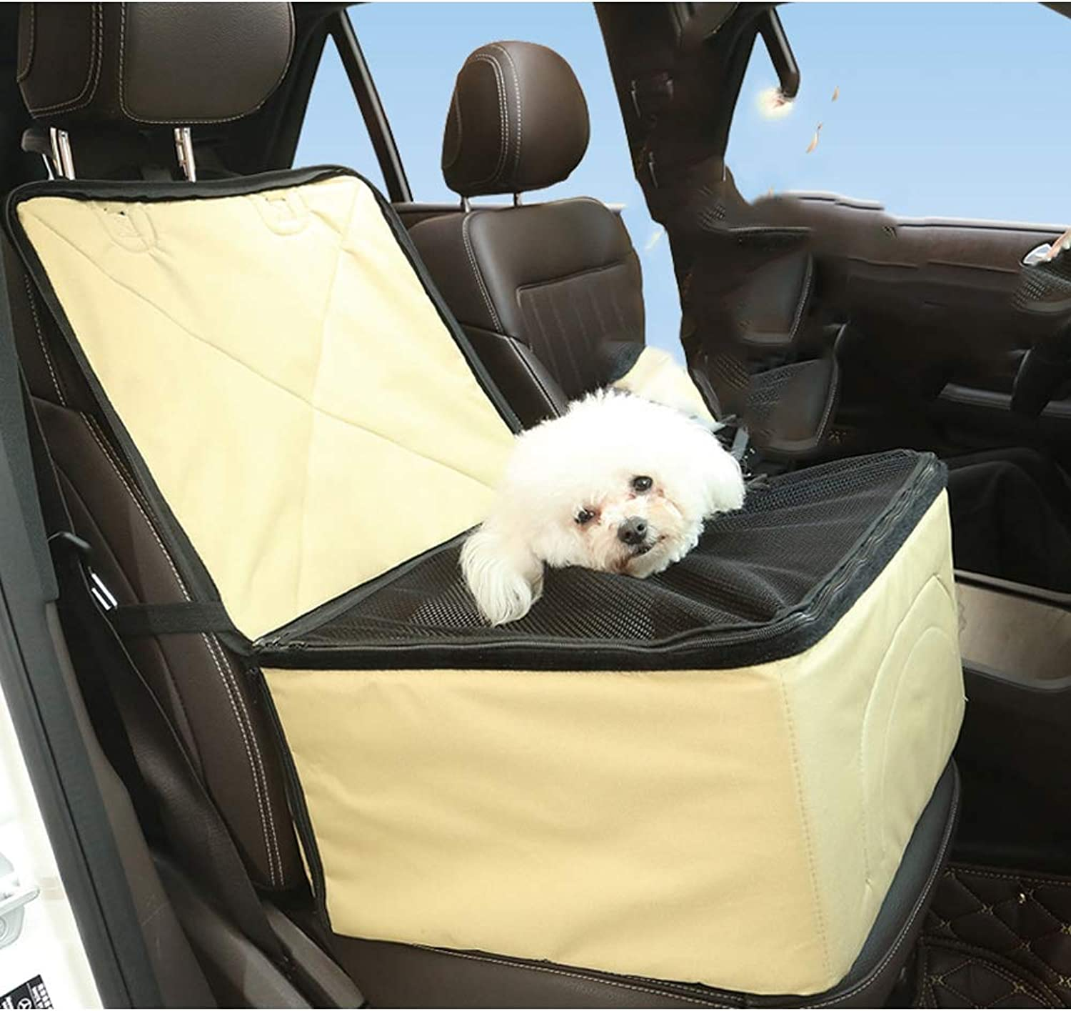 Pet Car Mesh Gaze Bag, Portable Collapsible mesh Breathable Waterproof, can be Connected to car seat Belt, Suitable for Medium Dog and cat Rabbit Travel Bag, can be Placed in The Trunk