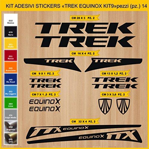 Adesivi Bici Trek Equinox_Kit 9_ Kit Adesivi Stickers 14 Pezzi -Scegli SUBITO Colore- Bike Cycle pegatina cod.0904 (070 Nero)