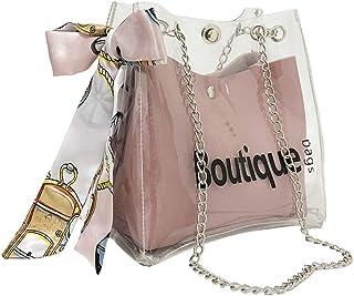 Jelly Bag Transparent Crystal Shoulder Bag Crossbody Messenger Bag with Ribbon Decor Women Summer Handbag (Pink)